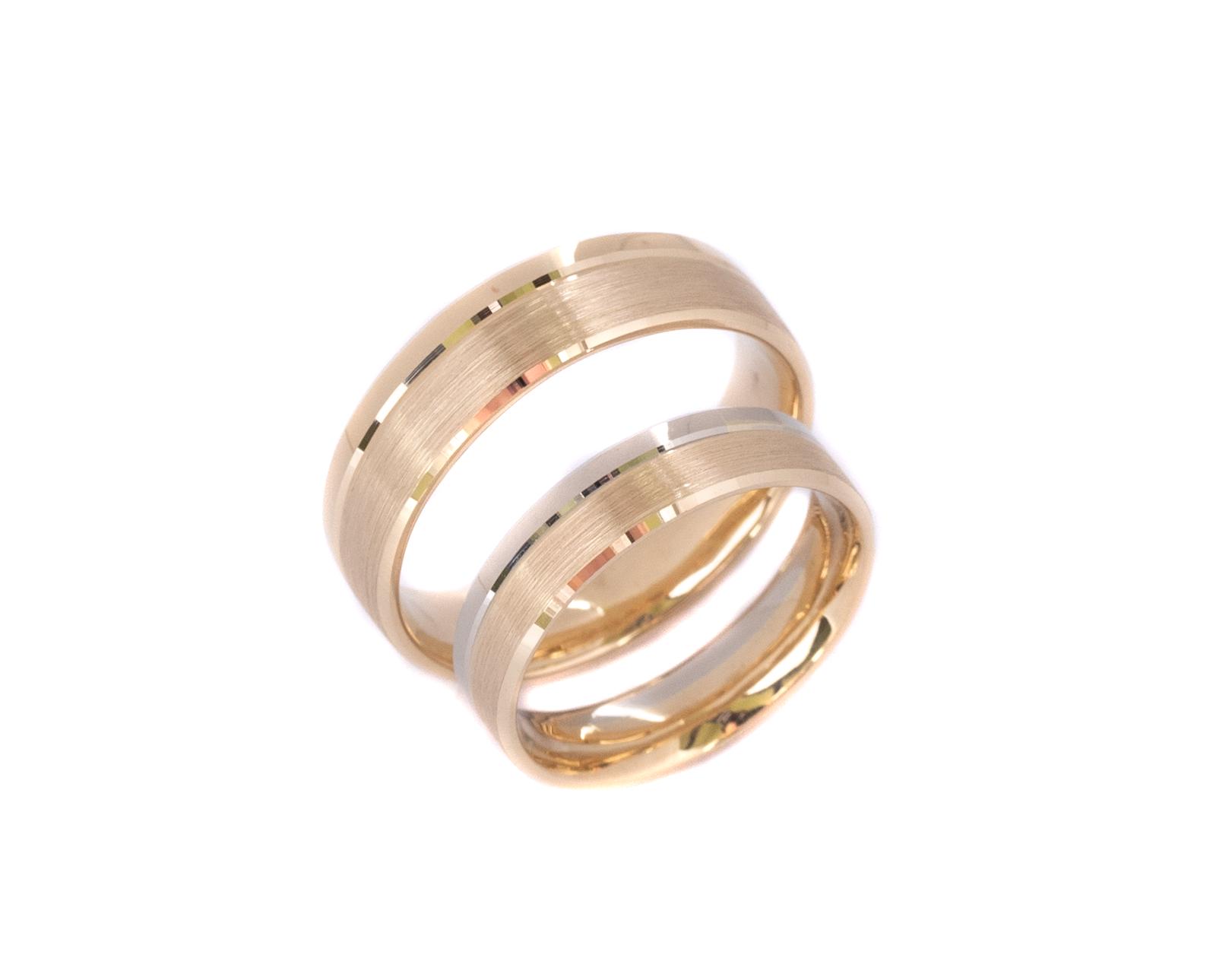 Płaskie złote obrączki z mieszanego złota , szczotkowane