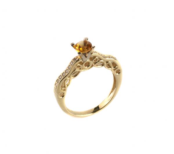 Pierścionek z brylantami i cytrynem w złocie