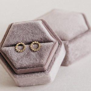 kolczyki sztyfty złote diamentowane, rogaliki , kółeczka