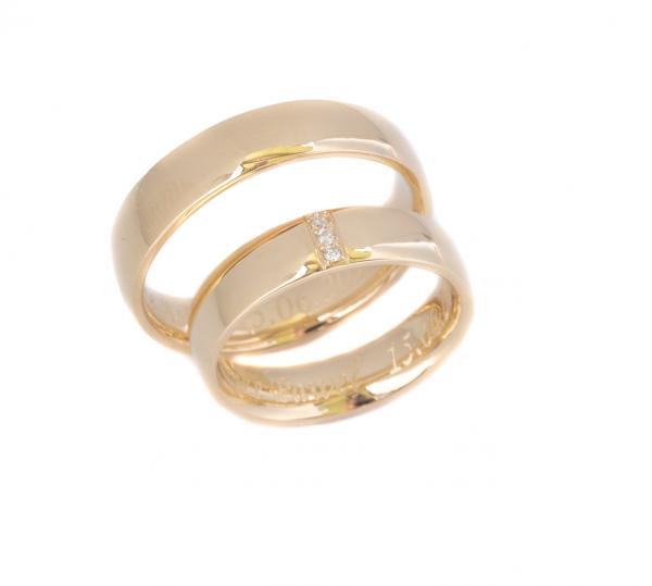 Obrączki z żółtego złota klasyczne z 3 brylantami