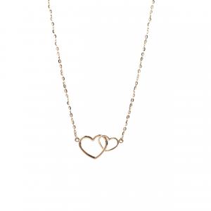 Złoty naszyjnik celebrytka serca łączone