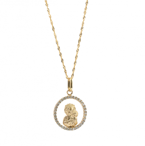 Medalik Matki Boskiej Częstochowskiej z cyrkoniami