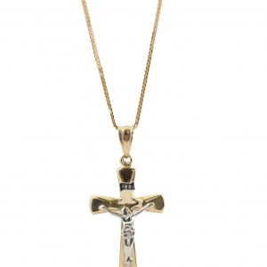 Krzyż złlty z wizerunkiem Pana Jezusa - rodowany