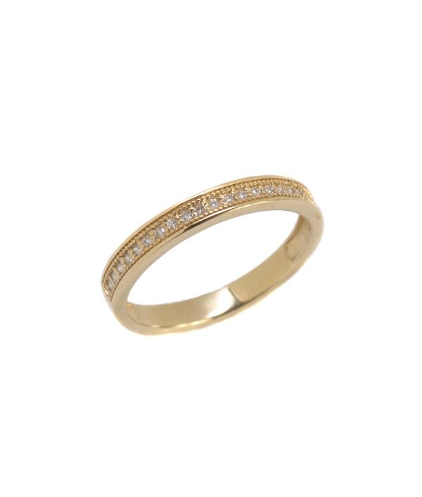 pierścionek z brylantami obrączkowy 0.085 ct