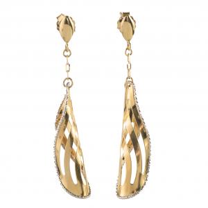 Złote kolczyki wiszące. eleganckie nowoczesne i długie