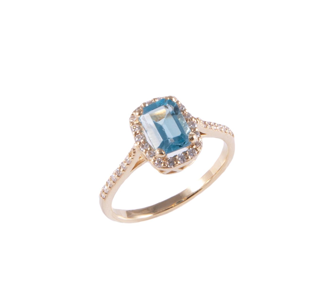 pierścionek z topazem błękity, i brylantami złoty