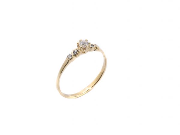 Pierścionek z brylantami księżniczka 0.15ct , klasyczny z koroną