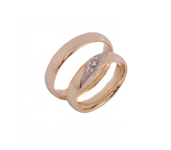 Obrączki mieszane złoto, z białą wstawką i trzema brylantami