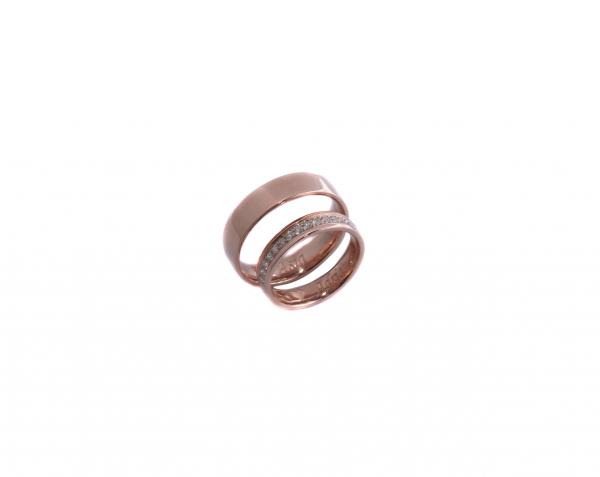 Obrączki z różowego złota z brylantami