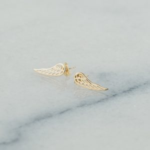 Złte kolczyki skrzydła nausznice