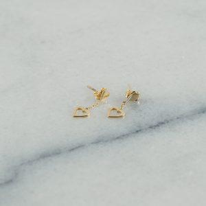 Kolczyki serduszka, puste ramki wiszące