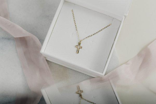 złoty komplet łańcuszek dla chłopca na chrzciny