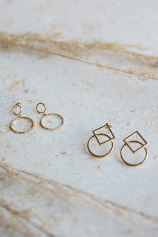 Kolczyki Złote - geometryczne kształty - koła i kwadraty