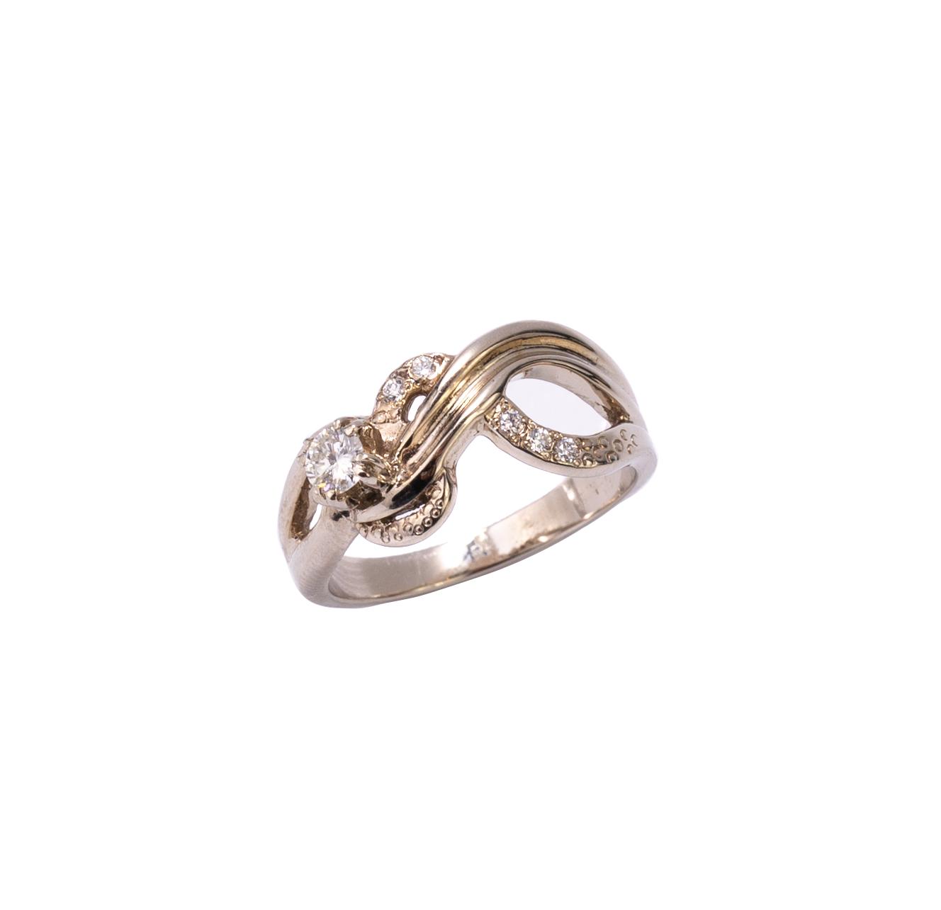Pierścionek z brylantami retro, autorski białe złoto