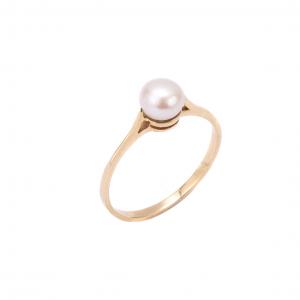 Pierścionek z naturalną perłą - klasyczny