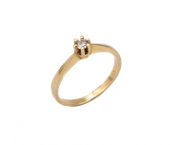 Klasyczny pierścionek z brylantem, żółte złoto